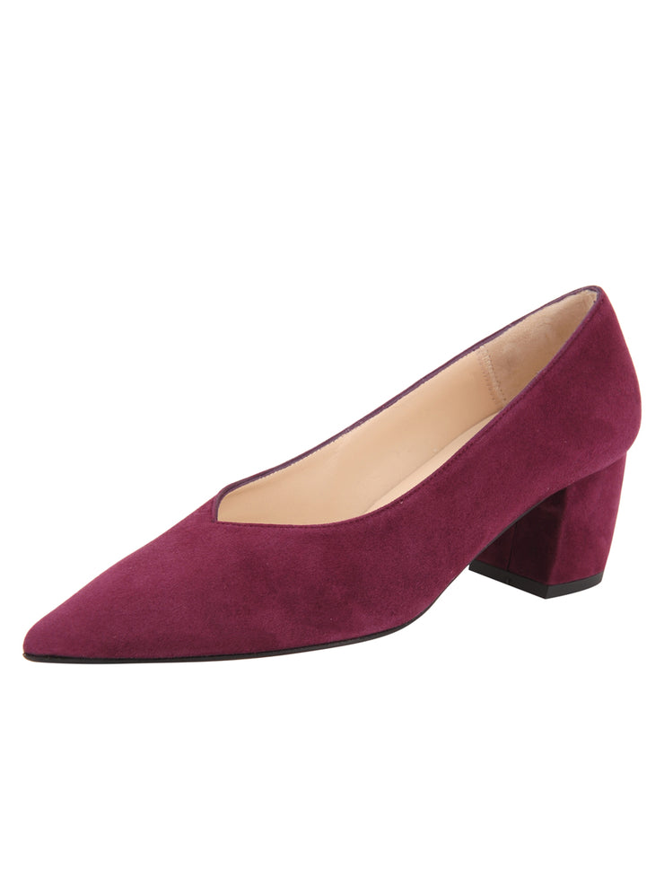 Womens Burgundy Suede Mid-Heel Pump