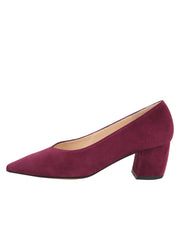 Womens Burgundy Suede Mid-Heel Pump 6