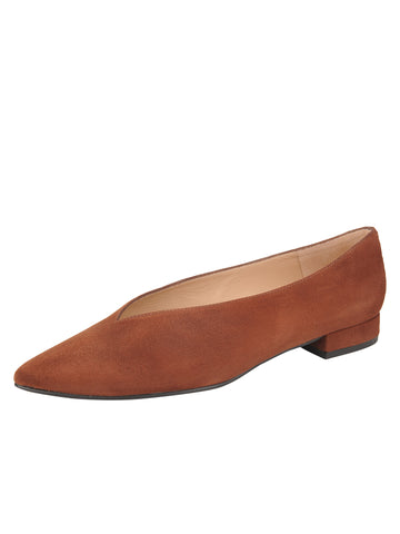 Womens Cuoio Suede Pointed Toe Flat