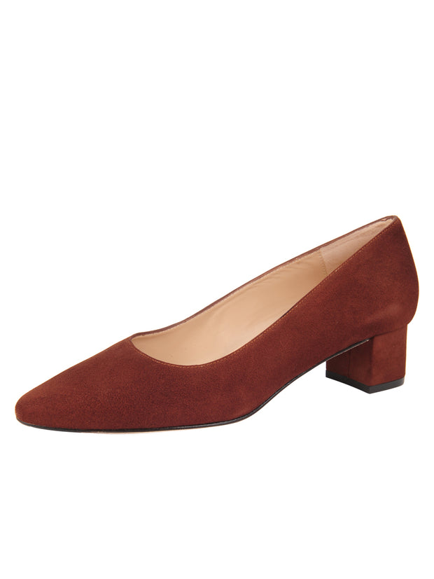 Womens Cuoio Suede BOSTON Low Block Heel