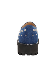 Womens Denim/Silver Studs Studded Lug Loafer 2