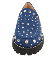Womens Denim/Silver Studs Studded Lug Loafer 4