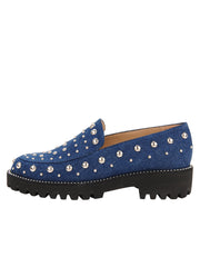 Womens Denim/Silver Studs Studded Lug Loafer 6