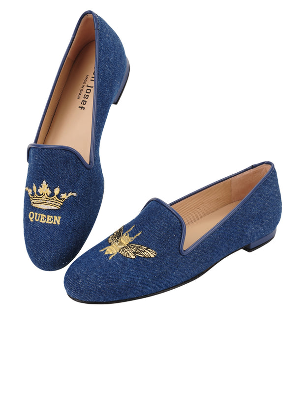 Womens Denim Gatsby Queen Bee Flats 5