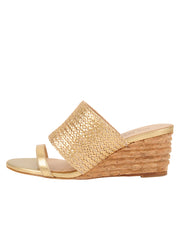 Womens Gold Combo Nolan Wedge Sandal 6