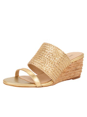 Womens Gold Combo Nolan Wedge Sandal