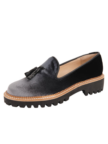 Womens Grey/Black Velvet Lug Shoe