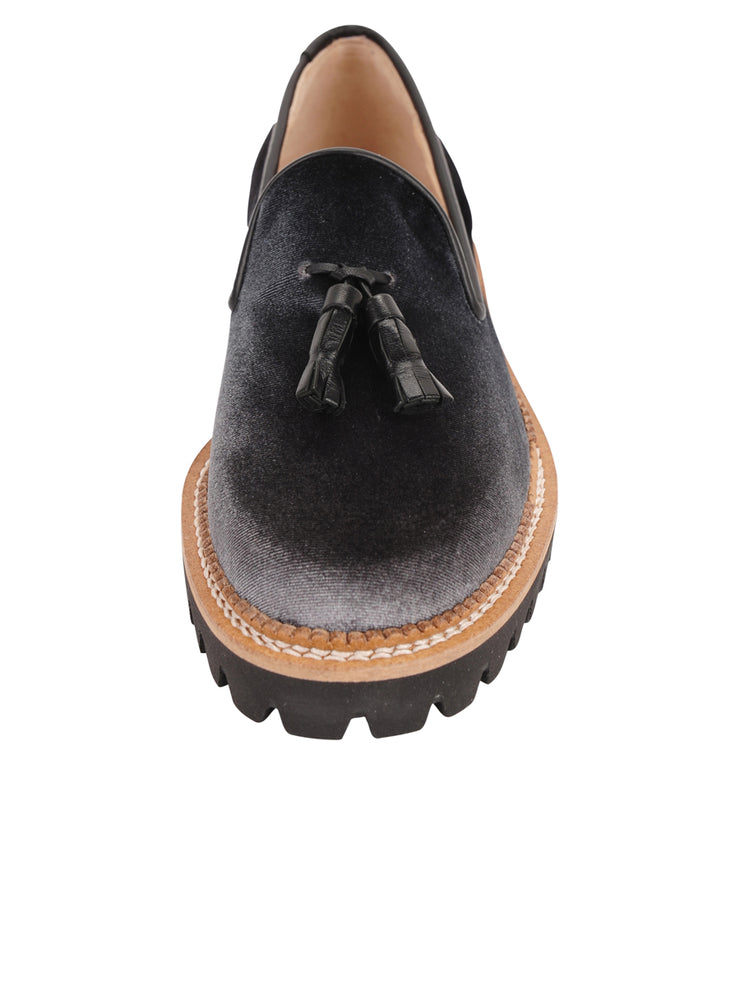 Womens Grey/Black Velvet Lug Shoe 4