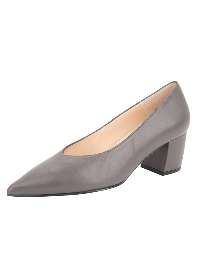 Womens Grey Leather Mid-Heel Pump