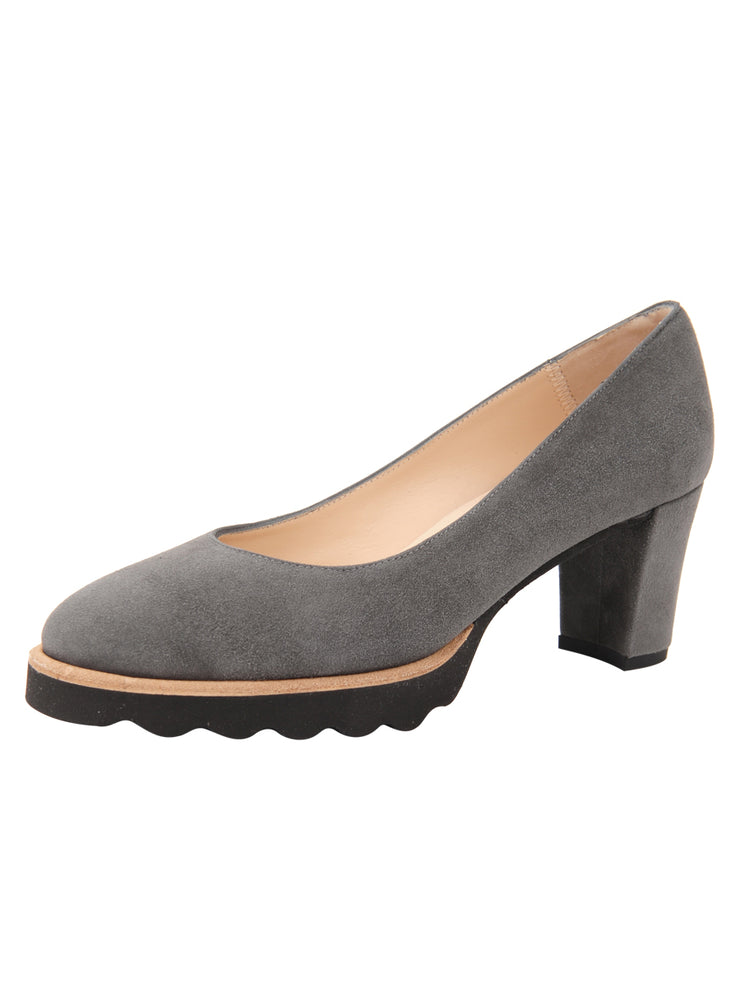 Womens Grey Suede Katie Lug Pump