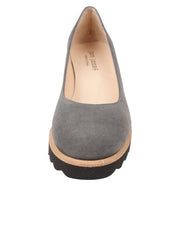 Womens Grey Suede Katie Lug Pump 4