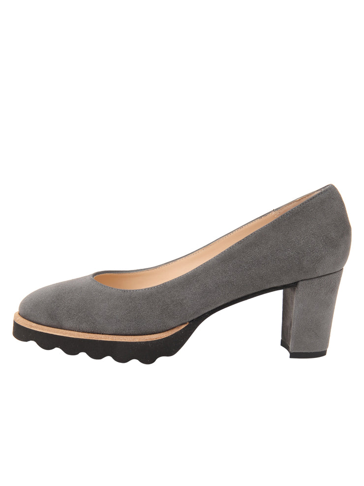 Womens Grey Suede Katie Lug Pump 6