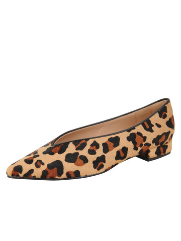 Womens Leopard Haircalf Pointed Toe Flat