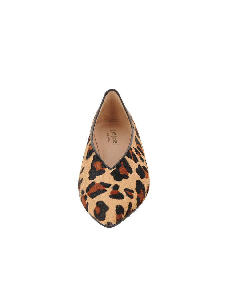 Womens Leopard Haircalf Pointed Toe Flat 4