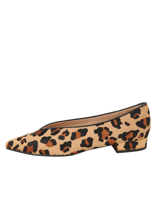 Womens Leopard Haircalf Pointed Toe Flat 6