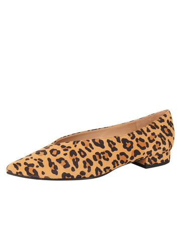 Womens Leopard Suede Pointed Toe Flat