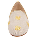 Womens Natural Linen W-Gold Fly Flat 4