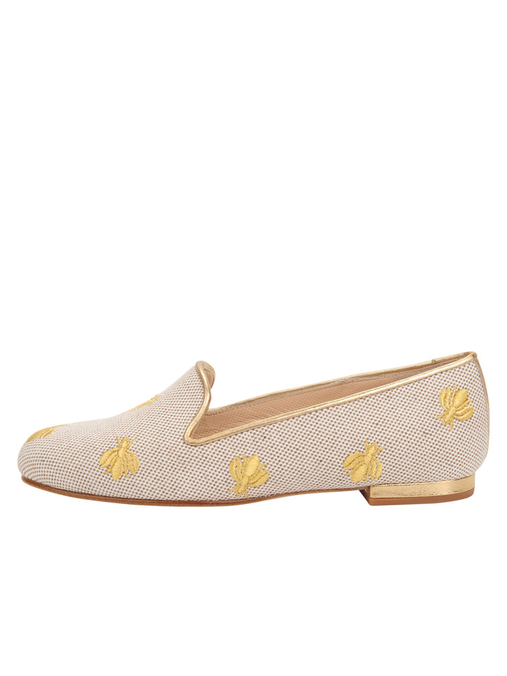 Womens Natural Linen W-Gold Fly Flat 6