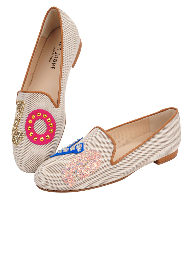 Womens Natural Linen Gatsby Love Flat 2