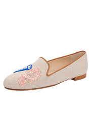 Womens Natural Linen Gatsby Love Flat 4