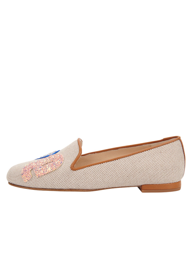 Womens Natural Linen Gatsby Love Flat 5