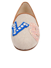 Womens Natural Linen Gatsby Love Flat 7