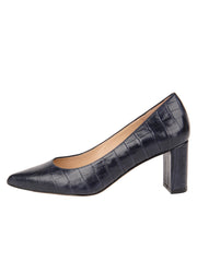 Womens Navy Croc Chana Mid Heel Block Pump 6
