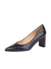 Womens Navy Croc Chana Mid Heel Block Pump