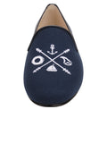 Womens Navy Linen Gatsby Nautical Flat 5