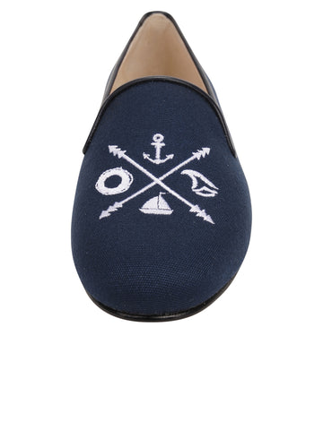 Womens Navy Linen Gatsby Nautical Flat 5 Alternate View