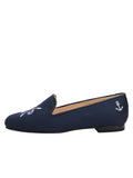 Womens Navy Linen Gatsby Nautical Flat 6