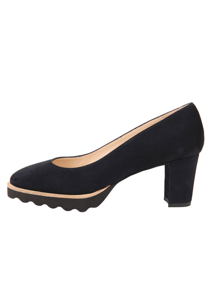 Womens Navy Suede Katie Lug Pump 6