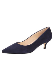 Womens Navy Suede Kitten Heel