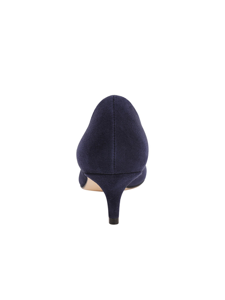 Womens Navy Suede Kitten Heel 4