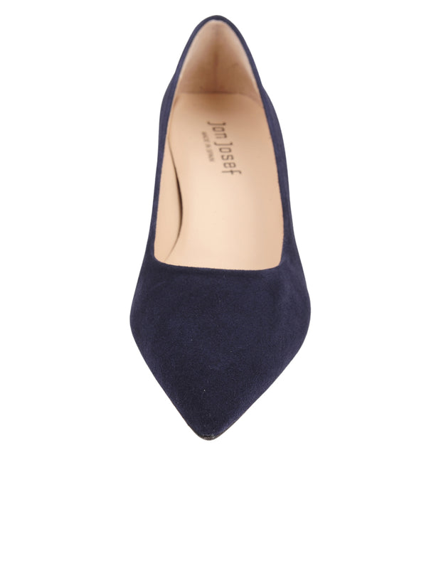 Womens Navy Suede Kitten Heel 5