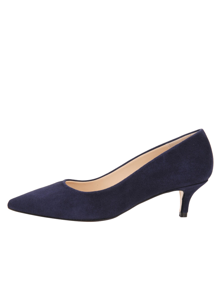 Womens Navy Suede Kitten Heel 6