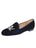 Womens Navy Velvet Keepcalm Flat