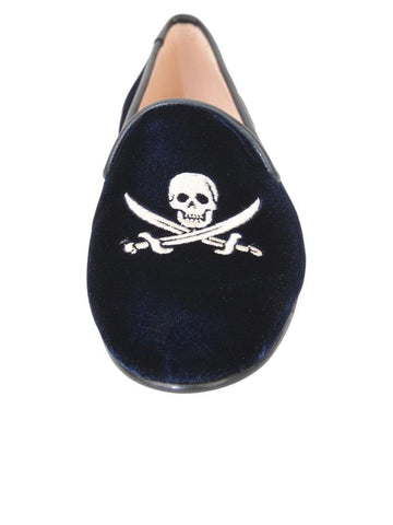 Womens Navy Velvet Skull 4 Alternate View