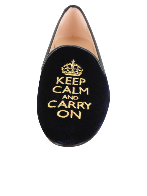 Womens Navy Velvet Keepcalm Flat 4