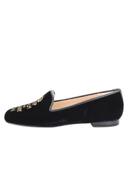 Womens Navy Velvet Keepcalm Flat 6