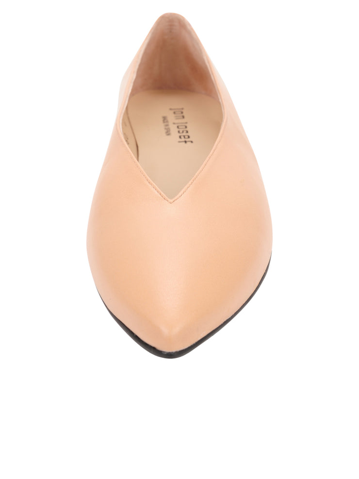 Womens Nude Leather Pointed Toe Flat 4
