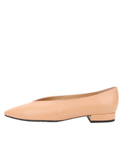 Womens Nude Leather Pointed Toe Flat 6