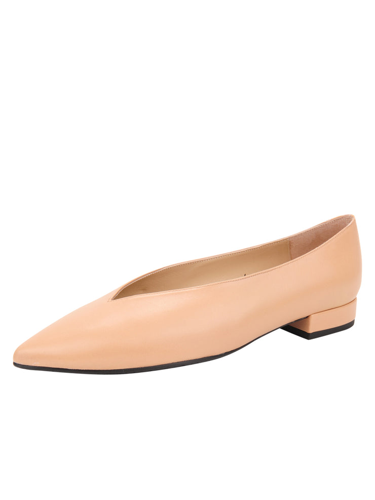 Womens Nude Leather Pointed Toe Flat