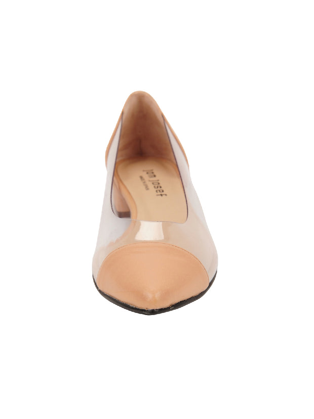 Womens Nude Leather Rule Pointed Toe Vinyl Flat 4