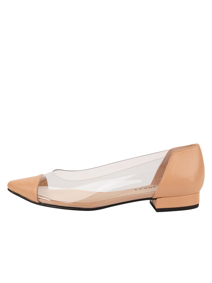 Womens Nude Leather Rule Pointed Toe Vinyl Flat 6