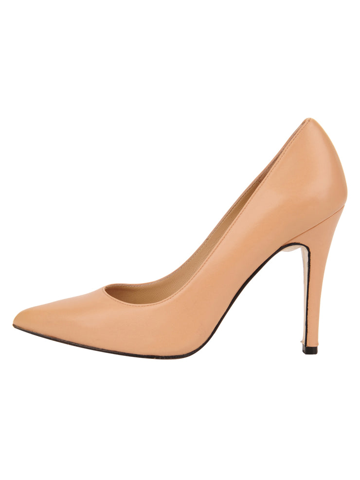 Womens Nude Leather Ana Pointed Toe Stiletto 6