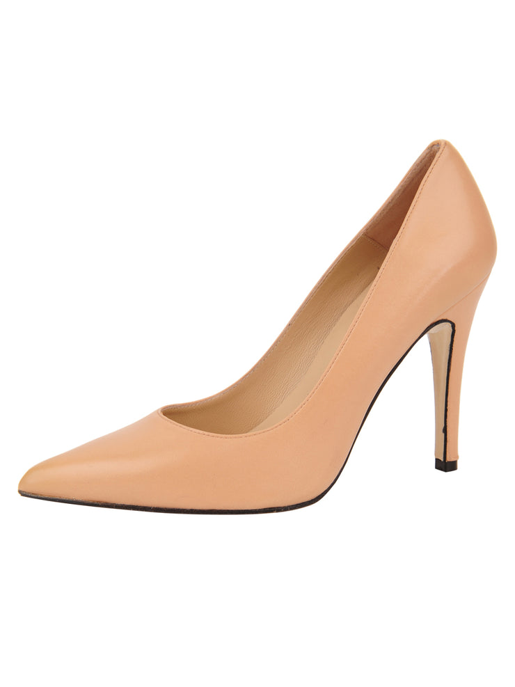 Womens Nude Leather Ana Pointed Toe Stiletto