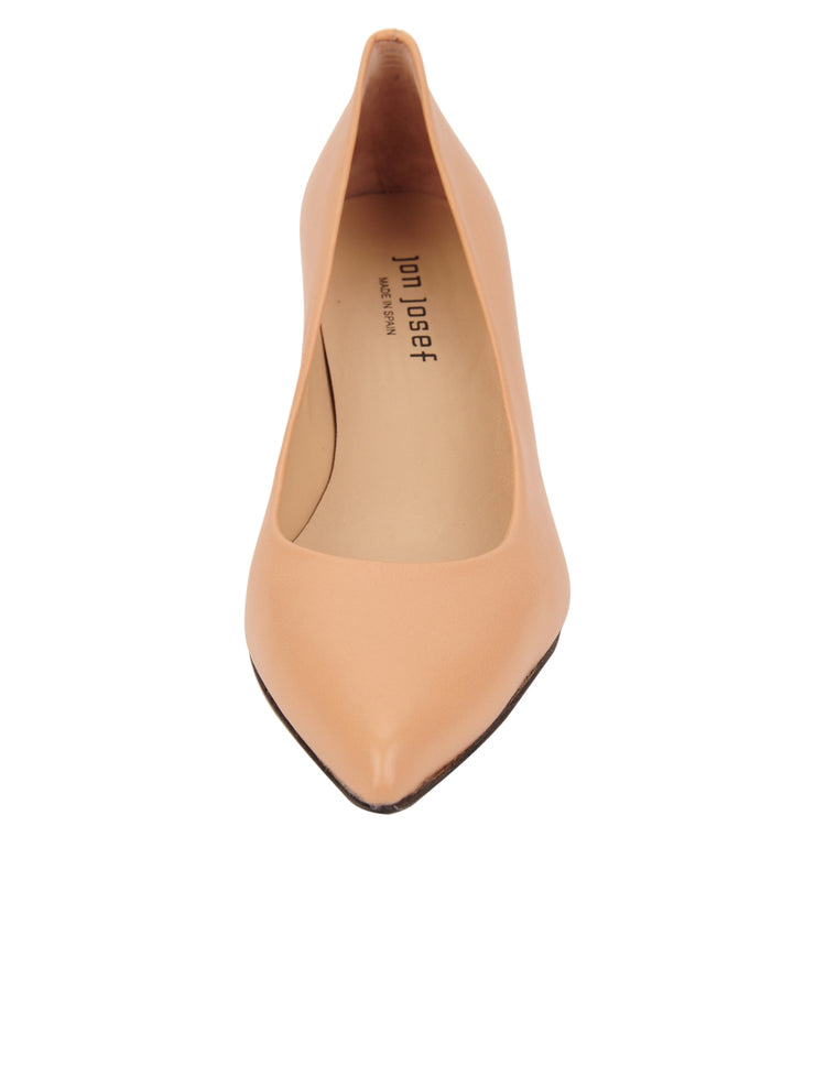 Womens Nude Leather Cassandra Pointed Toe Low Heel Pump 4