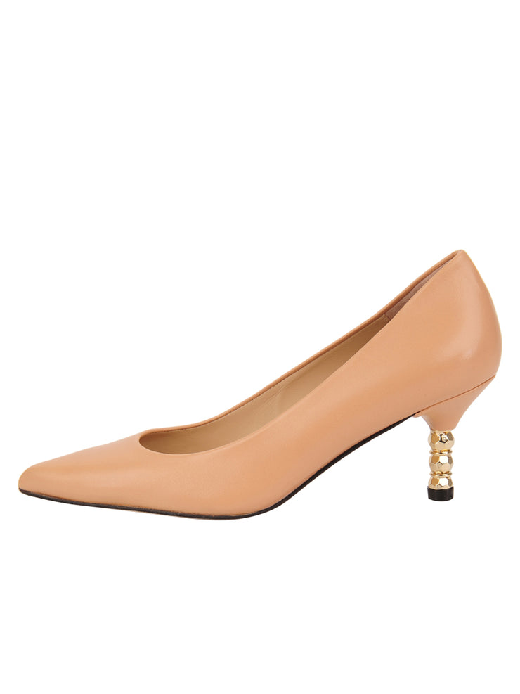 Womens Nude Leather Cassandra Pointed Toe Low Heel Pump 6