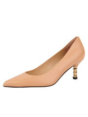 Womens Nude Leather Cassandra Pointed Toe Low Heel Pump